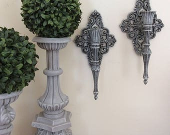 Vintage French Country Wall Sconces, Cottage Chic Wall Candleholders, Wall Decor, Set of 2