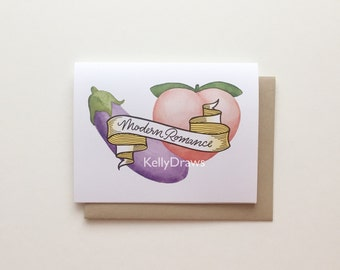 Modern Romance Greeting Card Eggplant Peach Emoji Handlettered Watercolor Painting Funny Couple Valentine's