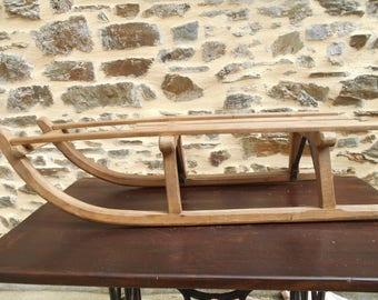 Vintage Norwegian DAVOS wooden slatted traditional Sledge/Sleigh