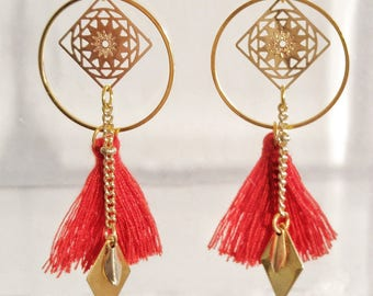 Earrings spring gold and red boho chic