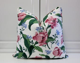 Schumacher Decorative Pillow Cover-Cottage Look-Pink Tulips and Blue Forget Me Nots-18x18,20x20