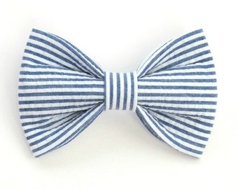 Navy Seersucker Dog Bow Tie, pet bow tie, collar bow tie, wedding bow tie