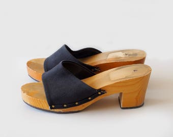 vintage heeled slide sandals