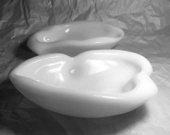 Blenko Glass White Freeform Pair