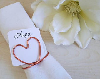 Set of 10, wedding HEART place card holders, baptism table decoration, name card holder, wire place holder, wedding tag holder, anniversary
