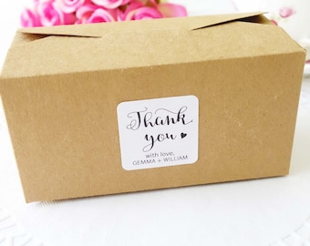 Personalised Favour Boxes - Wedding Bomboniere - Kraft Gift Box - Customised Sticker - Slice Cake Box - Baby Shower Favor