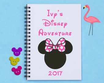 "Disney autograph book, Personalized - Minnie Mouse with Bow - ""Name's Disney Adventure"" - 5"" x 7"" autograph book, memory book, scrapbook"