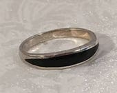 Sterling Silver 925 Onyx Black Thin Band Ring Size 9 Jewelry