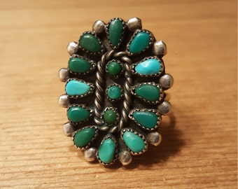 Vintage Sterling Silver and Turquoise Cluster Ring Native American Size 8