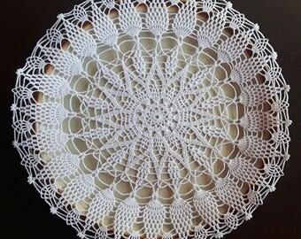 Handmade crochet white doily No.4