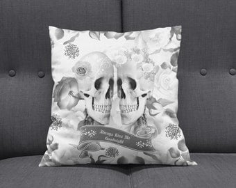 "Skull Throw Pillow Skeletons ""Always Kiss Me Goodnight""  Gray Rose Garden"