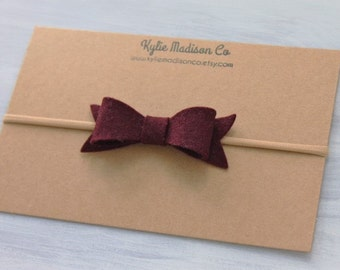 Burgundy felt bow nylon headband, baby headband, fall headband