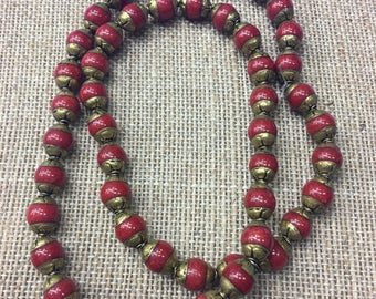 Coral bead strand(50pc)