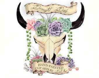 Watercolor Succulent Clipart Bull Skull Succulents Clip art Boho Cow Skull Echeveria Pearls Flower Bohemian Succulent Clip Art - Drought Day