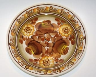 Vintage white and brown Polish plate Big Folk decorative plate Polish folk art Polish pottery Polish Ceramics Hand Painted Flowers Wall dish