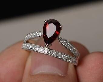 Natural Garnet Ring Silver Pear Cut Engagement Ring Crown Ring