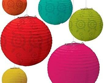 Set Of 6 Colorful Fiesta Caliente Hanging Paper Lanterns In 3 Sizes! - Candy Buffet Backdrop  Beautiful Fun - Party Decor - Cinco de Mayo!