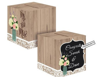 Rustic Natural Style Wedding Card Holder Box - Woodland Floral Wedding Theme Card Box With Slot - Matching Tableware In This Shop