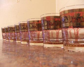 Set of Eight (8) Vintage 1960s Cera Golden Grape Burgundy Rocks Glasses