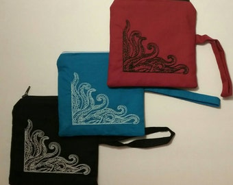 Tentacle/Octopus Embroidered Coin Purse // Glow in the Dark