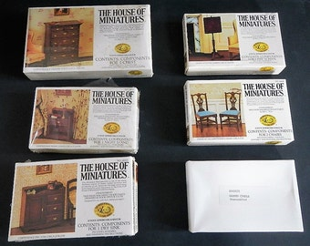 Vintage X-ACTO House of Miniatures -furniture kit, CHOICE -Chippendale chest, night stand, dry sink, chair; Queen Anne fire screen, cradle