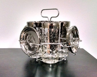Mid Century Kimiko Guardian Crest Bar Set with 4 Highball Glasses, 4 Coasters and Caddy / Vintage Barware