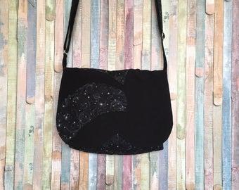 Bohemian messenger bag, Shoulder bag, Black starnight crossbody bag