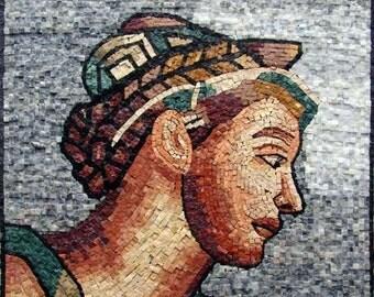 "Michelangelo "" Erythrean Sibyl I"" - Mosaic Art Reproduction"