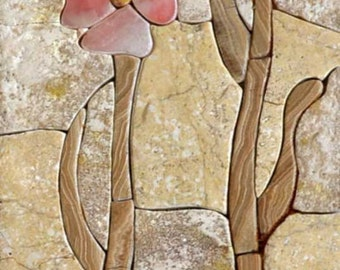 Two Flowers Stone Mosaic