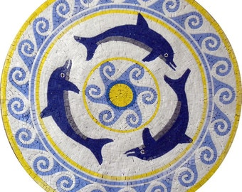 Dolphins  Medallion Mosaic Marble Art