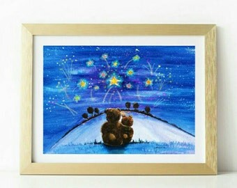 Teddy bear watercolour painting art print in blue fireworks wall art for 18th 20th 30th 40th 50th celebration gift new baby present