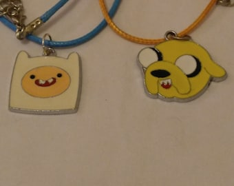 Free Shipping Adventure Time Inspired Necklace, Finn Necklace, Jake Necklace, Oh My Glob, What Time Is It