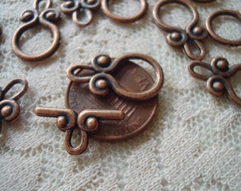 20 Sets Medium Small Toggle Clasps. Antique Copper. 11mmx20mm Hoop. 17mm TBar.  ~USPS Ship Rates /Oregon