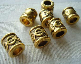 18 Ornate, Giant Antique Gold Column Tube Spacers. 10x10mm BIG Hole 5.5mm  For Euro Bracelets, Macrame, Wax Cord, ETC. Cool Motif. No Burrs.