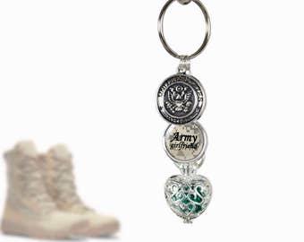 Army KeyChain Birthstone - Army Girlfriend - Birthstone Cage Locket - Personalized Military Key Chain