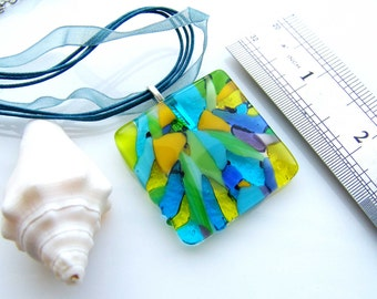 Pendant Blue Turquoise Yellow Lime Necklace - Glass Pendant Necklace - Fused glass jewelry - Murano glass - Multi Colored - Jewelry