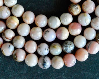 8mm Pink Peruvian Opal Bead Pink Stone Bead (10 beads) Natural Pale Pink Opal Gemstone Round Smooth Pink Stone Beads