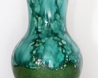 Dümler & Breiden Mid Century Glossy Green Fat Lava West German Vase
