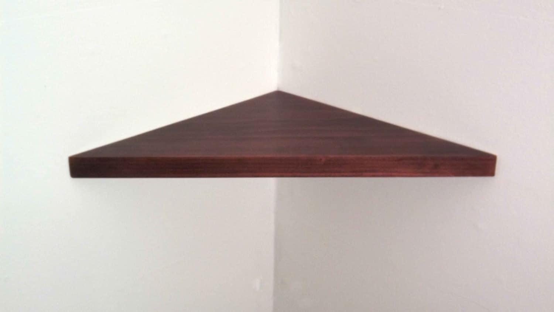 18 inch floating corner shelf 1 inch thick with black. Black Bedroom Furniture Sets. Home Design Ideas