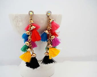 Multicolor and Gold Tassel Statement Earrings