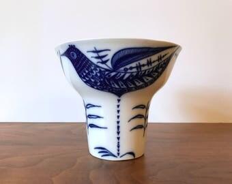 Vintage Porsgrund Porcelain Vase with Scandinavian Modern Blue Bird Decor
