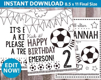 3 Personalized Soccer Birthday Coloring Pages / Coloring Sheet / Soccer Party Printable / All Star Sports Coloring / Any Age / 8.5x11""