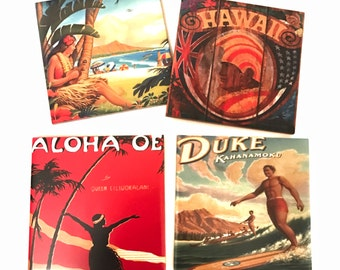 Valentines Day Gift Him Vintage Hawaiian Post Card Coaster Set of 4 / Gifts From Hawaii / Ceramic Table Coasters / Christmas Gift