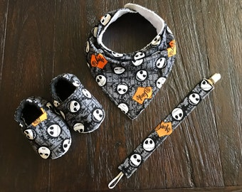 Jack Skellington // Nightmare before Christmas baby bandana bib // pacifier clip // crib shoes
