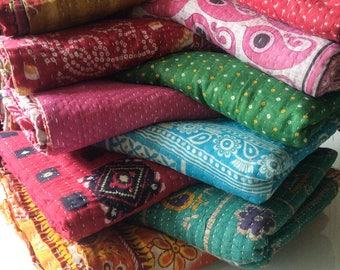 10 Pcs Wholesale Lot Bohemian picnic rug kantha quilt / handmade reversible Indian throw / vintage bedspread / Kantha throw / Baby Quilt