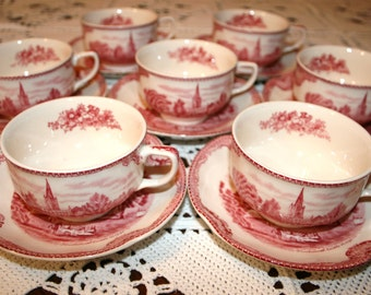 Johnson Brothers, Old Britain Castles, tea cup and saucer, Johnson Bros Windsor ware 1930s