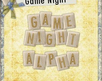 Game Night Digital Scrapbook Alphabet