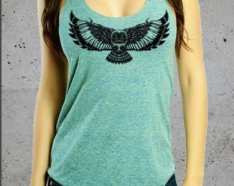 Womens Graphic Tees-OWL Shirt- Owl Tank Top,Bohemian Clothing,Native American Clothing, American Apparel,Hiking Shirt,Girlfriend Gift