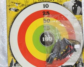 Rare Vintage Dragnet Official Target Game Jack Webb Knickerbocker Hollywood 1955 game gun and darts