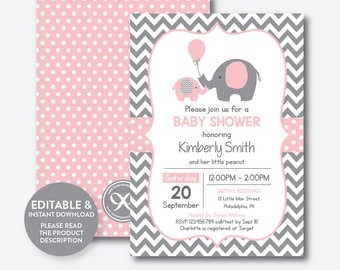 Instant Download, Editable Elephant Baby Shower Invitation, Pink Elephant  Invitation, Little Peanut,